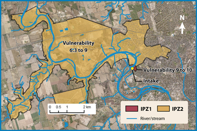 Map of a river Intake Protection Zone
